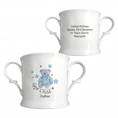 Teddy & Stars Blue Godchild China Loving Cup 1