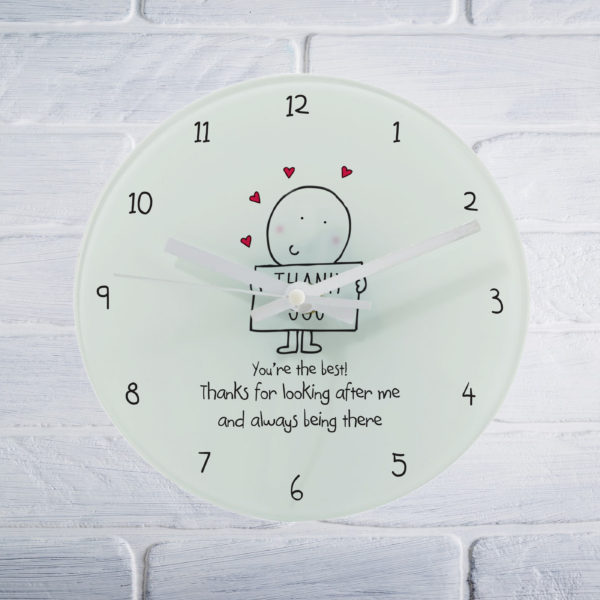 Chilli & Bubbles Thank You Round Personalised Clock