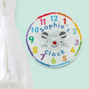 Arty Mouse Face Children's Glass Clock