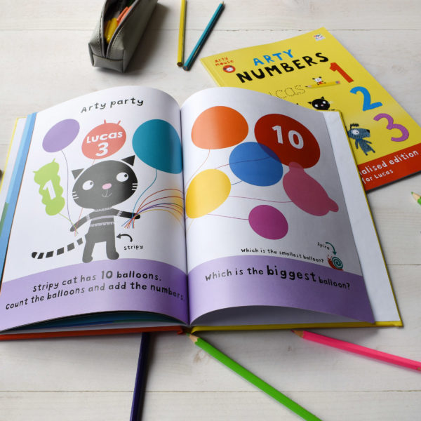 Personalised Arty Mouse Numbers Activity Book - softcover