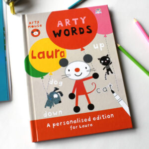 Personalised Children's Activity Book Arty Mouse Learning Words Softcover
