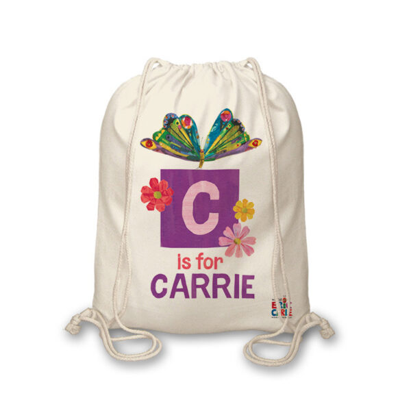 Very Hungry Caterpillar Initial Butterfly Drawstring Bag