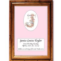 Name Initial On a Mat Framed Unusual Christening Gift