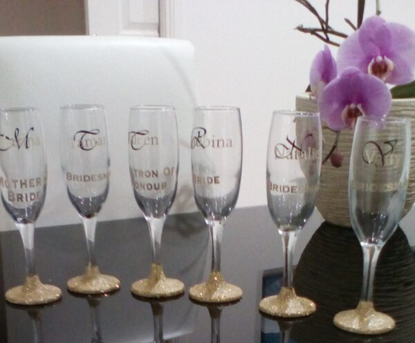 Personalised Handmade Champagne Glasses Flutes Set of 6 For Bridal Party Ideal Wedding Gift