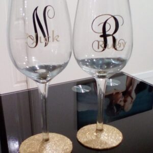 Personalised Handmade Wine Glass Glitter Stem For Any Occasion